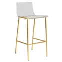 Chandler Clear Acrylic + Matte Brushed Gold Metal Modern Bar Stool