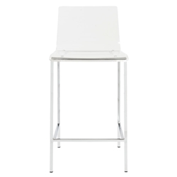 Chandler Clear Acrylic + Brushed Aluminum Metal Contemporary Counter Stool