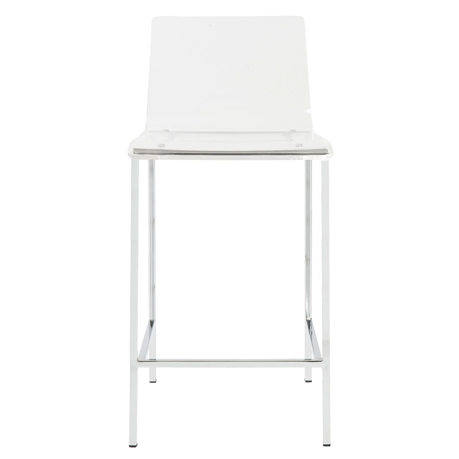 Chloe Clear Acrylic + Brushed Aluminum Metal Contemporary Counter Stool