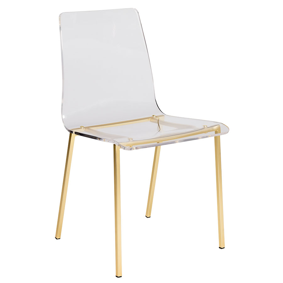 Call to Order · Chandler Clear Acrylic + Brushed Gold Metal Modern Dining Chair  sc 1 st  Eurway & Modern Dining Chairs | Chandler Gold Base Chair | Eurway