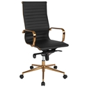 Channel High Back Office Chair in Black + Gold