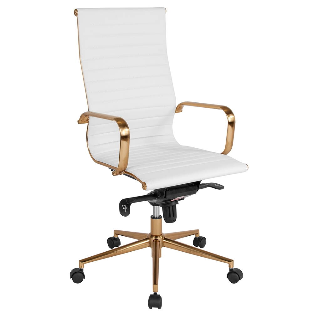 Channel Modern White Gold High Back Office Chair Eurway