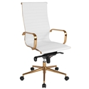 Channel High Back Office Chair in White + Gold