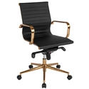 Channel Mid Back Office Chair in Black + Gold