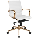Channel Mid Back Office Chair in White + Gold