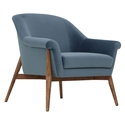 Channing Dusty Blue Velvet Like Fabric Upholstery + Walnut Stained Ash Wood Legs Modern Arm Chair
