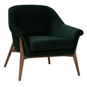 Channing Emerald Green Velvet Like Fabric + Walnut Stained Ash Wood Modern Arm Chair