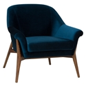 Channing Midnight Blue Velvet Like Fabric + Walnut Stained Ash Wood Modern Arm Chair