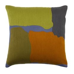 "Charity 20"" Lime + Blue Modern Pillow"