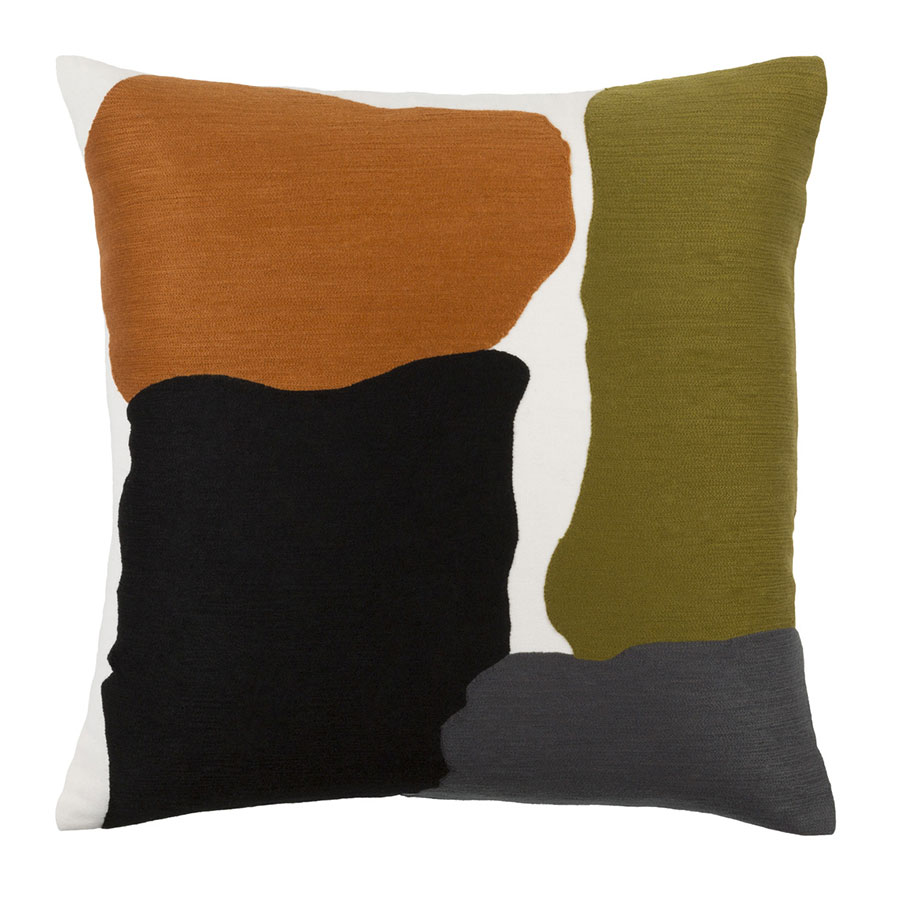 "Charity 22"" Olive + Orange Modern Pillow"