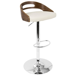 Charleen Walnut + Cream Modern Adjustable Stool