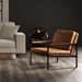 Modloft Charles Modern Lounge Chair in Cognac Vintage Leather with Champagne Brushed Stainless Steel