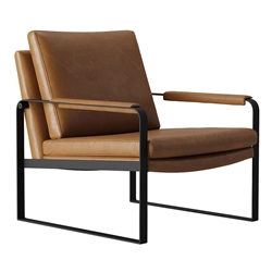 Charles Vintage Cognac Leather Modern Lounge Chair by Modloft