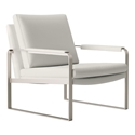Charles Soft Snow Leather Modern Lounge Chair by Modloft