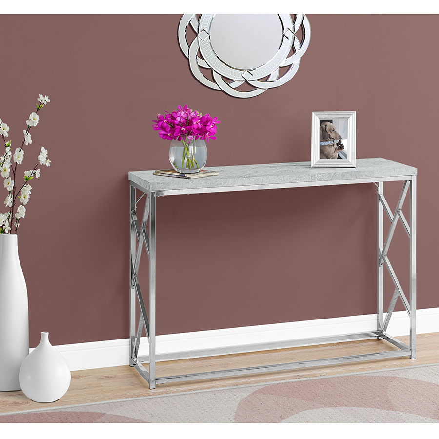 Furniture of america chaves contemporary 3 piece sofa set -  Chaves Contemporary Cement Chrome Console Table