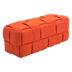 Checkers Orange Poly-blend Fabric Woven Modern Bench