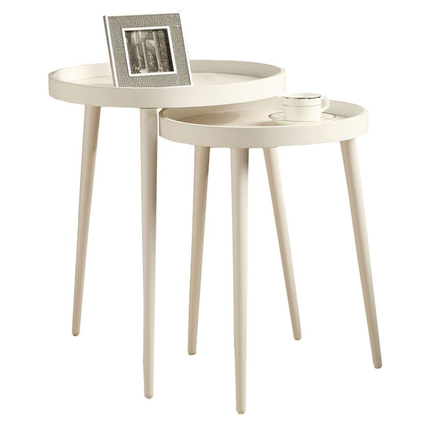 Chelsea white modern nesting tables eurway modern call to order chelsea white contemporary nesting tables watchthetrailerfo