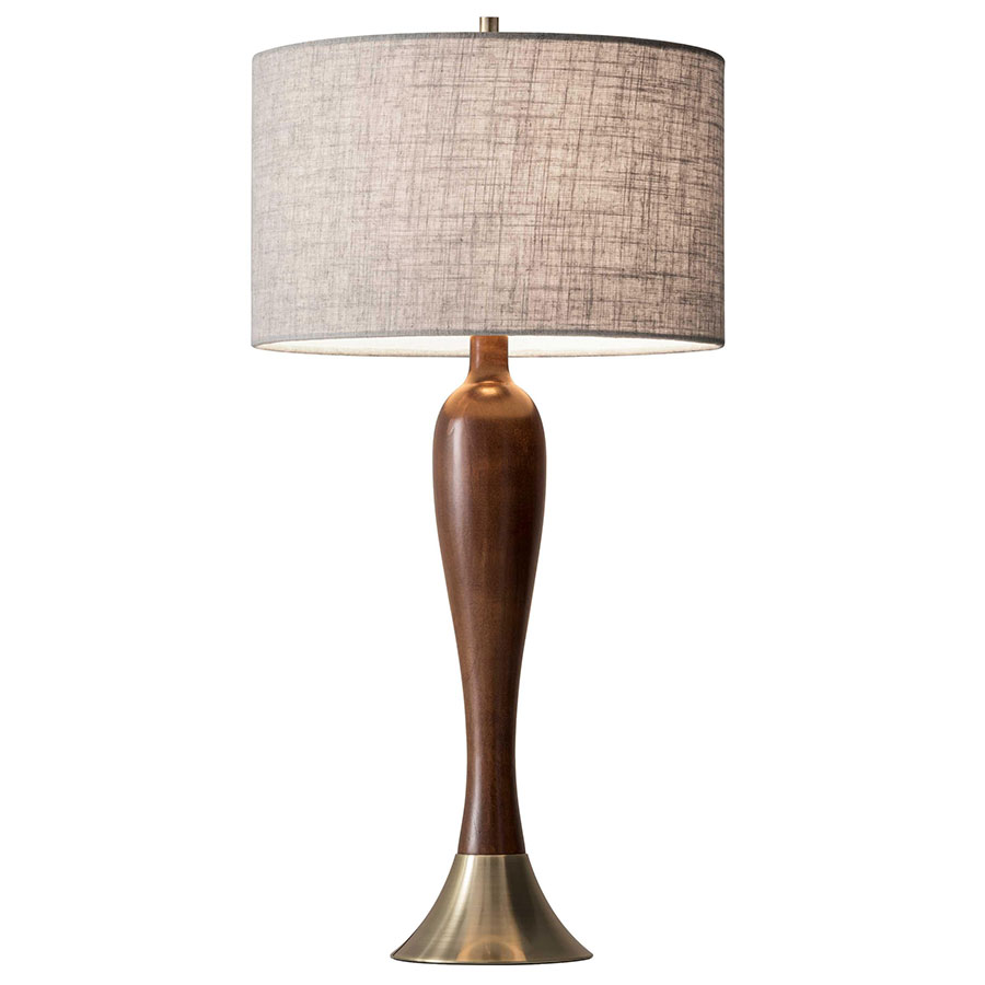 Cherish Antique Brass Base Modern Table Lamp with Walnut Body and Oatmeal Linen Shade