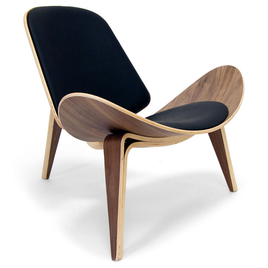 Chicago Classic Modern Chair in Black and Walnut