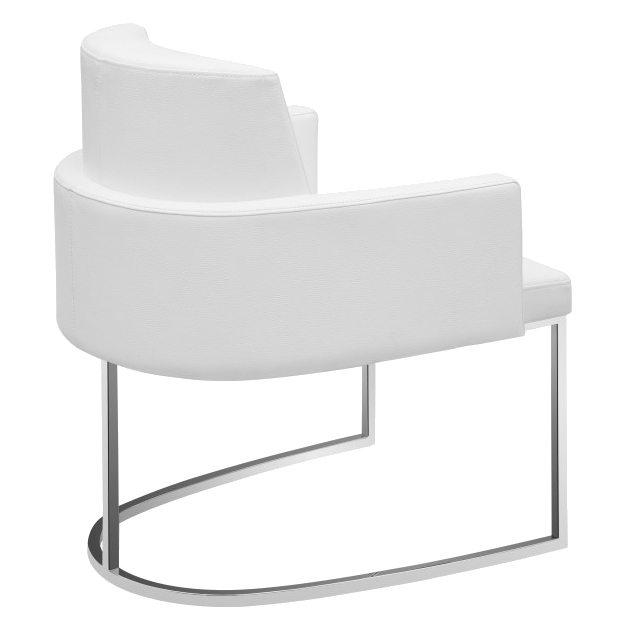 Chichi White Leatherette + Metal Modern Dining Armchair