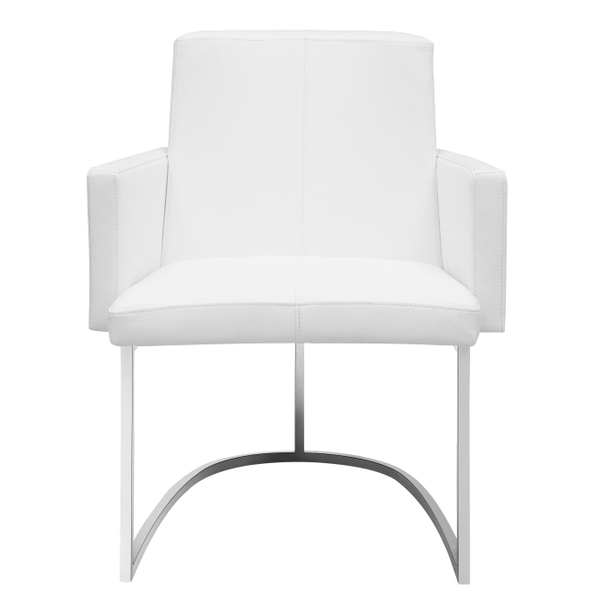 Chichi White Contemporary Dining Armchair