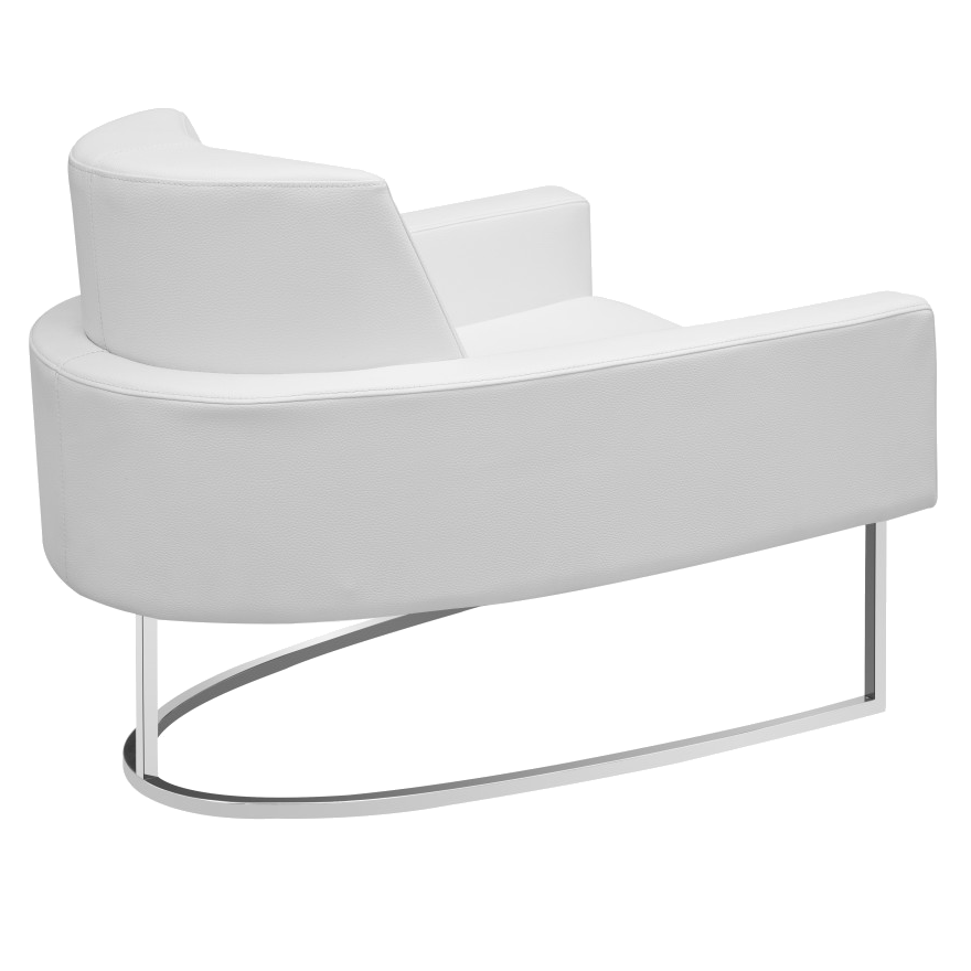 ... Chichi White Leatherette + Metal Modern Lounge Chair
