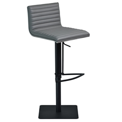 Christian Gray, Gray Walnut + Black Steel Modern Adjustable Stool
