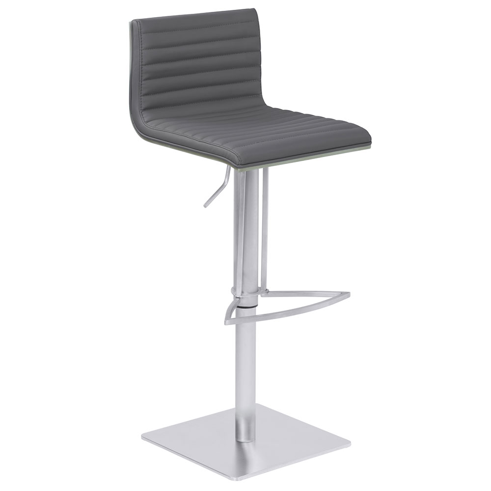 Christian Gray, Gray Walnut + Brushed Steel Modern Adjustable Stool
