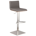 Christian Gray, Walnut + Brushed Steel Modern Adjustable Stool