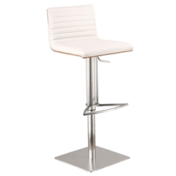 Christian White, Walnut + Brushed Steel Modern Adjustable Stool