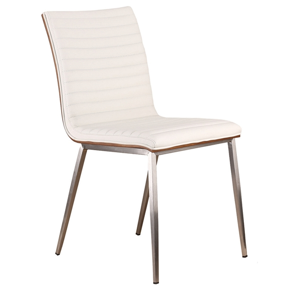 Christian White Faux Leather + Walnut Dining Chair - Back View
