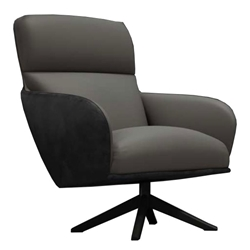 Christie Warm Gray Leather Modern Lounge Chair