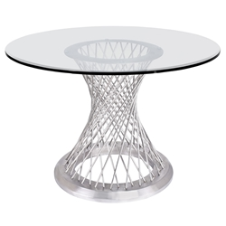Christy Modern Brushed Steel + Glass Dining Table