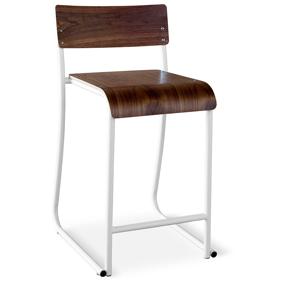 Church Contemporary Counter Stool by Gus Modern in White and Walnut