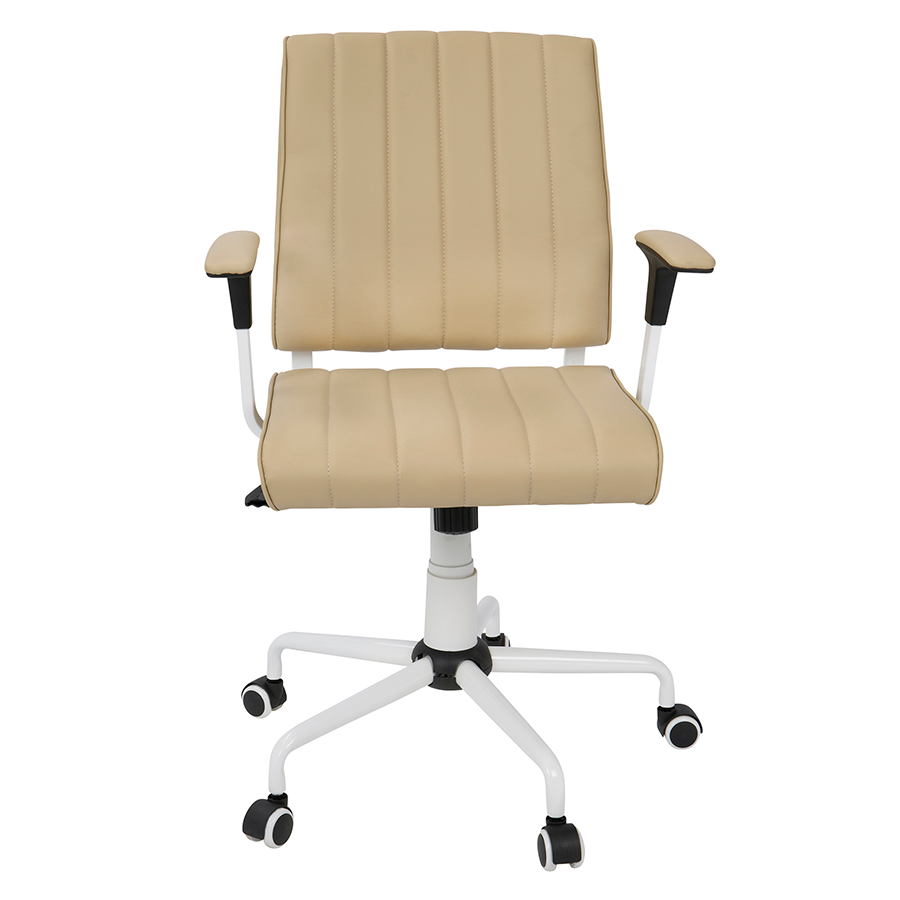 Cindra White + Tan Contemporary Office Chair