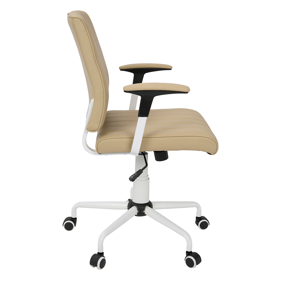Cindra White + Tan Leatherette Modern Office Chair