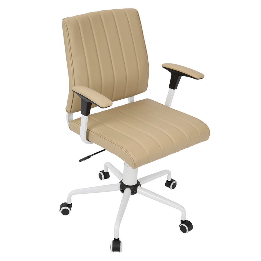Cindra White Frame + Tan Upholstery Contemporary Office Chair