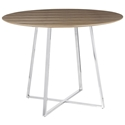 Ciron Modern Round Walnut + Chrome Dining Table