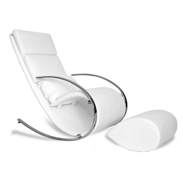 Claire Modern Rocking Chair + Ottoman in White