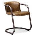 Clancy Brown Faux Leather + Weathered Metal Mid Century Modern Chair