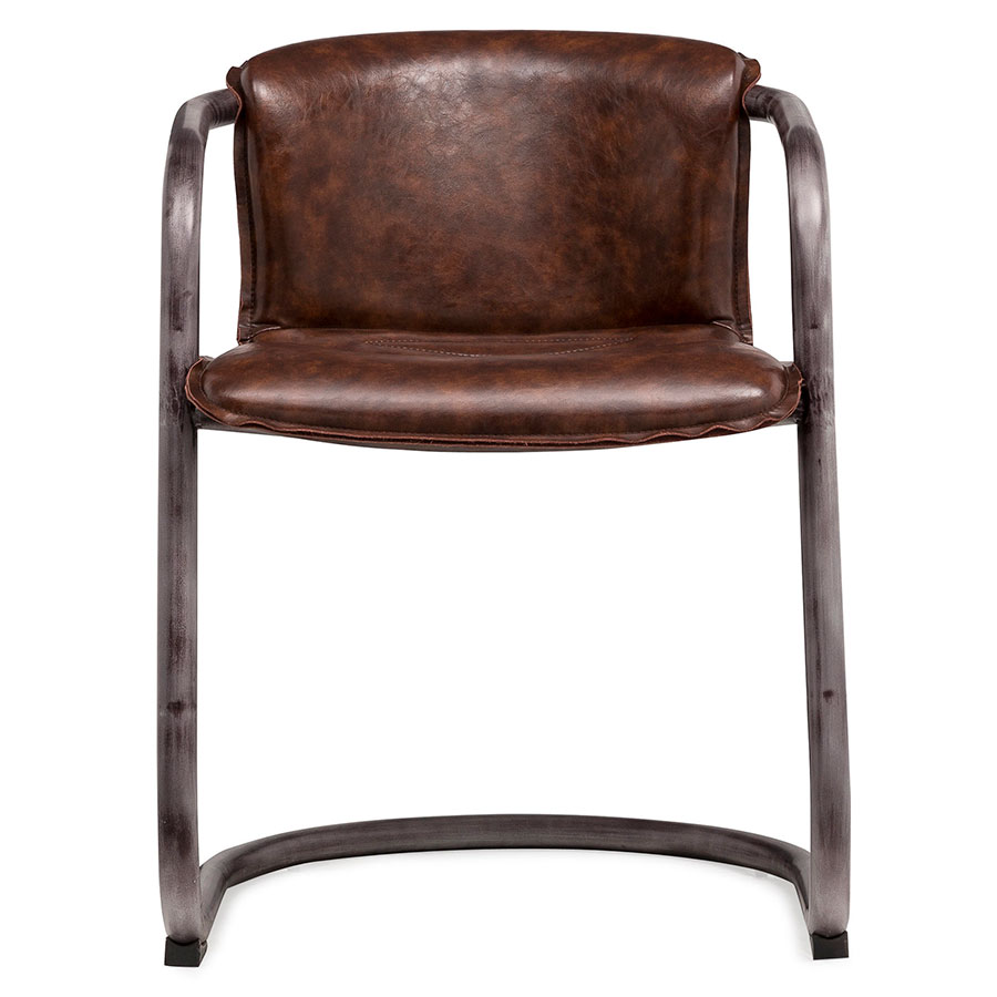 ... Clancy Cognac Modern Faux Leather + Weathered Metal Chair ...