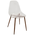 Clarissa Modern Brown + Clear Acrylic Side Chair