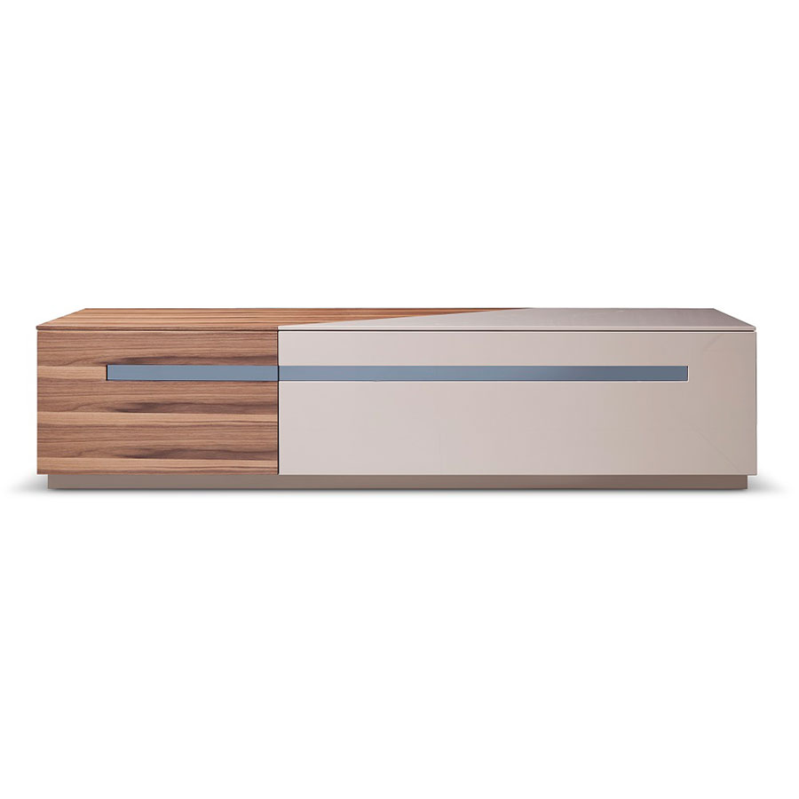 Call To Order · Clarkson Modern Walnut + Gray TV Stand