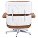 Classic Modern Lounge Chair + Ottoman in Caramel & Aluminum - Back View