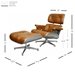 Classic Modern Lounge Chair + Ottoman in Caramel & Aluminum - Dimensions