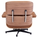 Classic Modern Lounge Chair + Ottoman in Caramel & Walnut - Back View