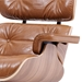 Classic Modern Lounge Chair + Ottoman in Caramel & Walnut - Arm Detail