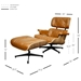 Classic Modern Lounge Chair + Ottoman in Caramel & Walnut - Dimensions