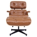 Classic Modern Lounge Chair + Ottoman in Caramel & Walnut - Front VIew