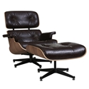 Classic Mid-Century Modern Lounge Chair + Ottoman - Java & Walnut